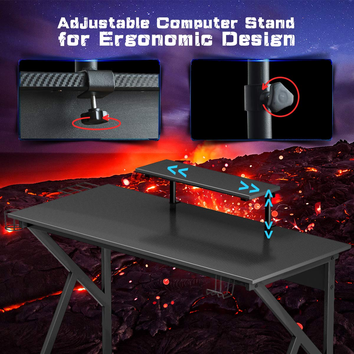 K-Shaped Sport Table Lx W x H 47.5X22X29.5 Ergonomic Racing E-Sports Gamers Computer Desk PC Laptop Table/ for Pro Gamers Gaming Workstation with Cup /& Headphone Holder Tangkula Gaming Desk