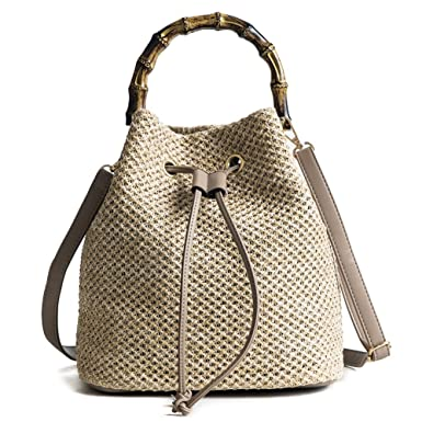 7d1cdd22d5 Image Unavailable. Image not available for. Color  QZUnique Women s Bucket  Drawstring Handbag Straw Shoulder Bag Straw Weave Crossbody Handbag Beach  Bags ...