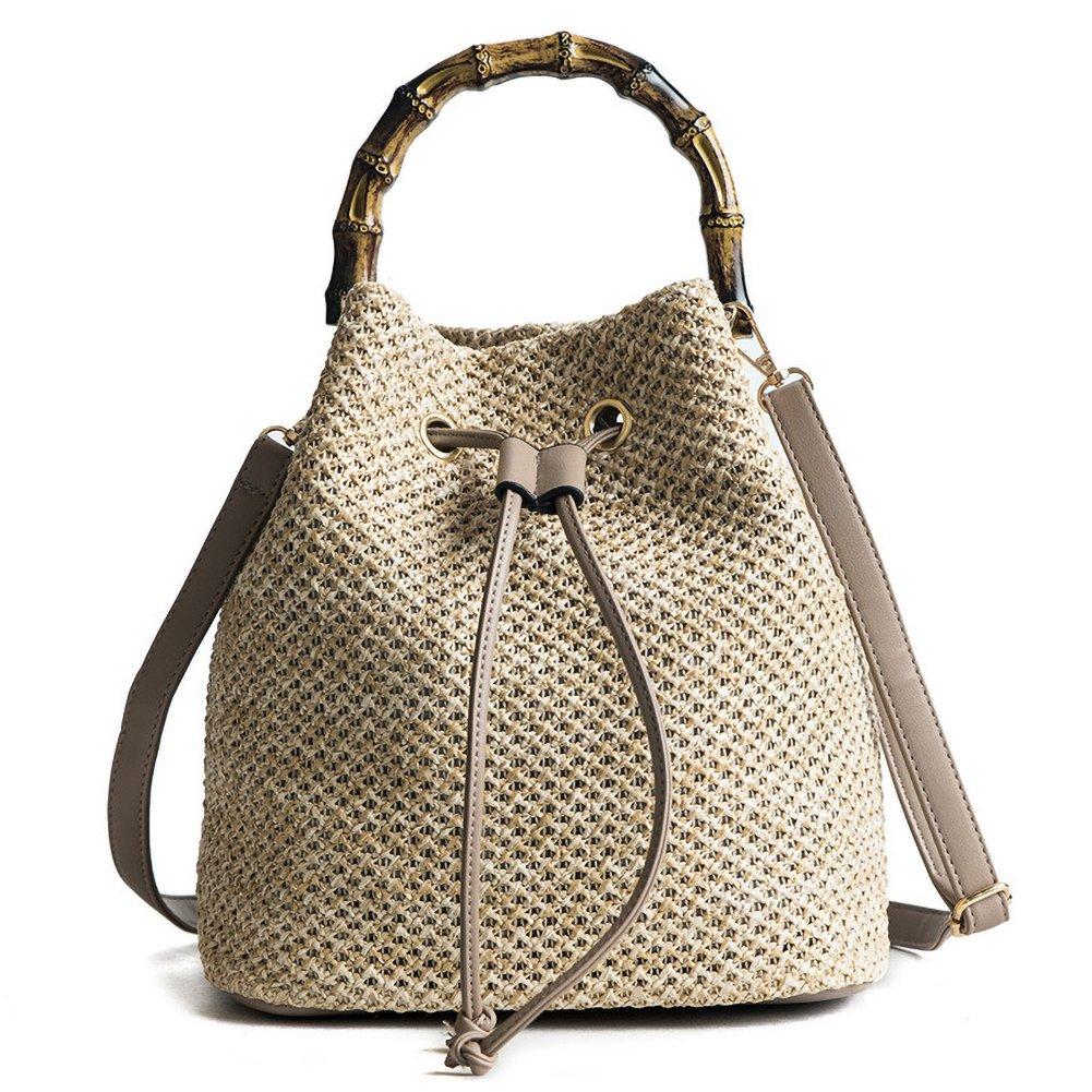 Onfashion Women's Bucket Drawstring Handbag Straw Shoulder Bag Straw Weave Crossbody Handbag Beach Bags With Bamboo Handle