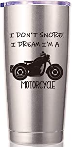 Biker Tumbler I Don't Snore I Dream I'm A Motorcycle 20 OZ Tumbler.Grandpa Gifts.Birthday,Christmas Gifts for New Grandpa,Grandpa Again,Granddad,New Grandfather,Husband,Men Travel Mug(Stainless Steel)