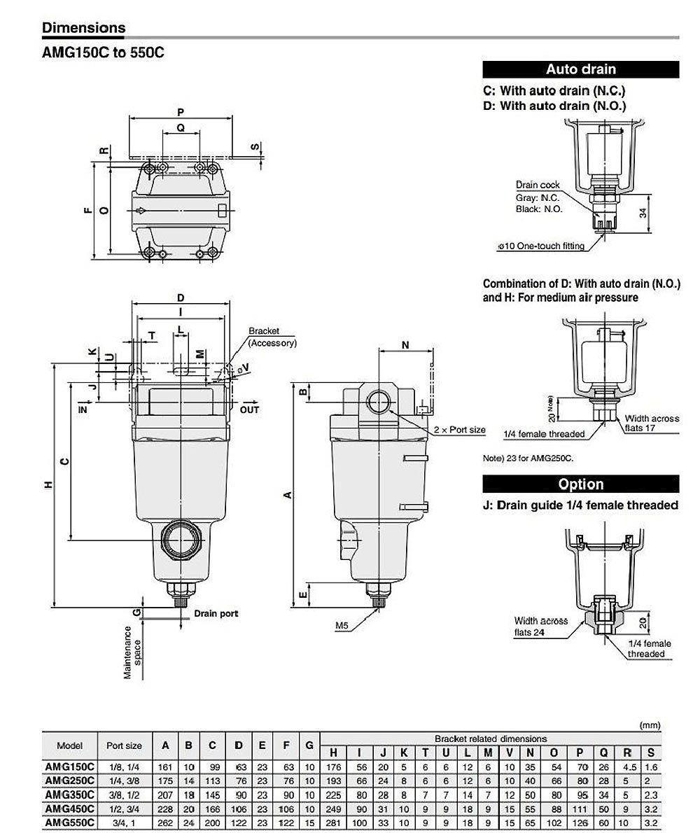 SMC AMG350C-N04BC Water Separator, N.C. Auto Drain, 1,500 L/min, 1/2'' NPT, Mounting Bracket