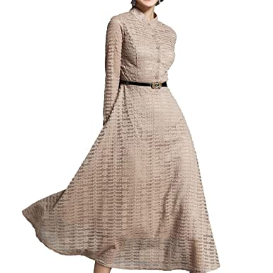 Slim Lace Long Sleeve Casual Work Party A-Line Vestido Vintage Long Maxi Dresses,