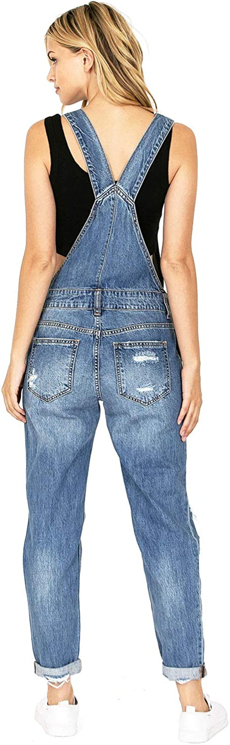 Cello Womens Juniors Baggy BF Style Denim Overalls