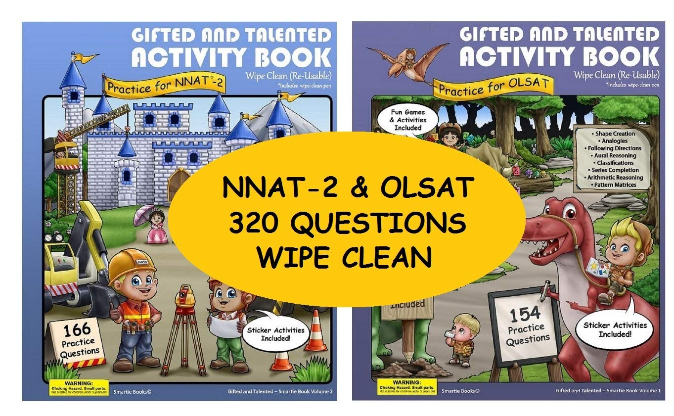 Gifted and Talented Test Preparation: 2 Gifted test prep activity books NNAT-2 and OLSAT; WIPE-CLEAN Workbook for children in preschool and kindergarten; ...