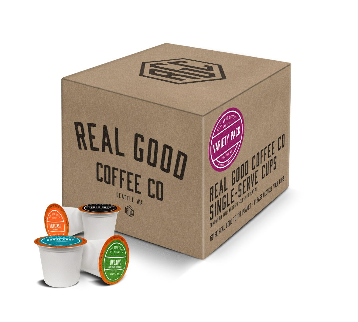 Real Good Coffee Co Variety Pack Coffee K Cups, 36 Count, Recyclable Single Serve Coffee Pods for Keurig K Cup Brewers