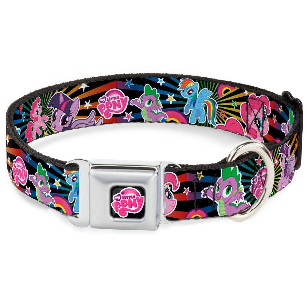 Buckle-Down Seatbelt Buckle Dog Collar Three Ponies & Spike Sunburst Black Multi color 1  Wide Fits 9-15  Neck Small