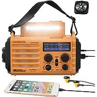 5000mAh Weather Radio,Solar Hand Crank Emergency Radio,NOAA/AM/FM Shortwave Outdoor Survival Portable Radio, Power Bank…