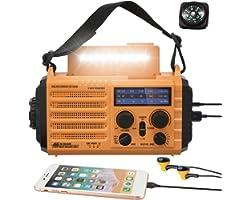 5000mAh Weather Radio,Solar Hand Crank Emergency Radio,NOAA/AM/FM Shortwave Outdoor Survival Portable Radio, Power Bank USB C