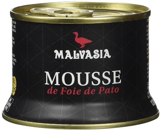 Mousse de Foie de Pato Gourmet sabor tradicional Malvasia, presentado en práctica lata abre fácil