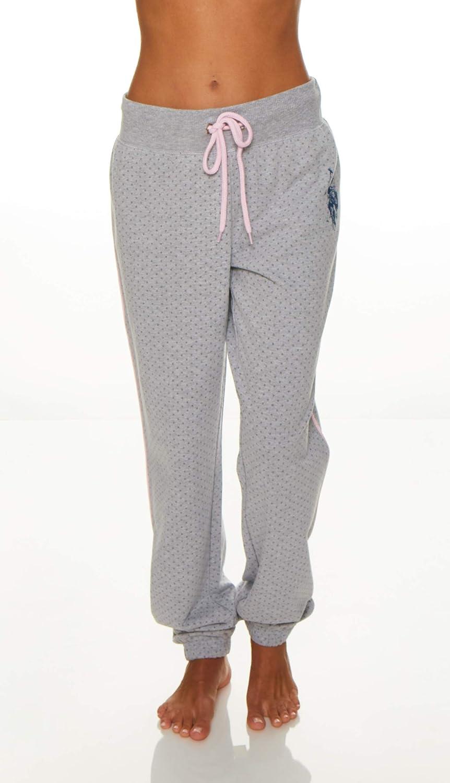 Heathergrey US Polo Assn. Women's Printed French Terry Boyfriend Fitted long Pant Sleepwear