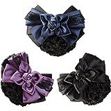 LiveZone Women Hair Bun Cover Net Snood Hairnet Bowknot Decor Barrette Hair Clip Bow Lace Flower Hair Accessories ,3 Color-Black & Blue & Purple by LiveZone