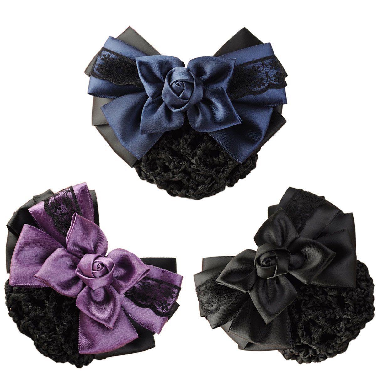 LiveZone (Pack of 3) Women Hair Bun Cover Net Snood Hairnet Bowknot Decor Barrette Hair Clip Bow Lace Flower Hair Accessories,3 Color-Black & Blue & Purple