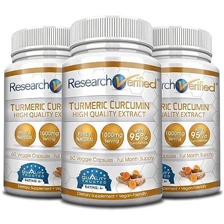 Research Verified Turmeric Curcumin – Vegan with BioPerine, 95 Standardized Curcuminoids – Natural Anti-Inflammatory, Antioxidant, Pain Relief and Antidepressant – 3 Bottles 3 Months Supply