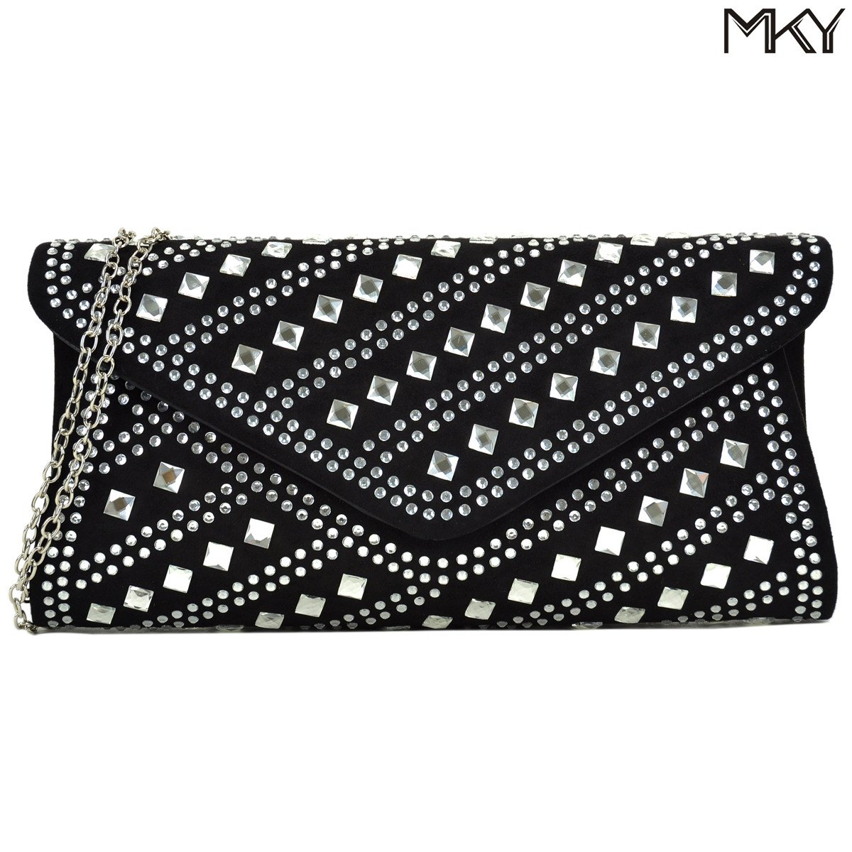 Studded Rhinestone Clutch Purse Evening Bag Crystal Handbag Glitter Sequin Party by MKY