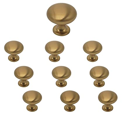 10 Pack Champagne Bronze Cabinet Knobs And Pulls 1 15 Diameter