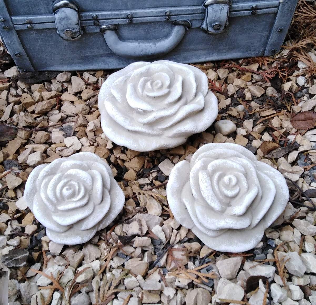 RDI Lot de 3 Fleurs de Rose en Pierre r/ésistante au Gel R/ésiste aux intemp/éries et aux intemp/éries D/écoration de Jardin 11 cm