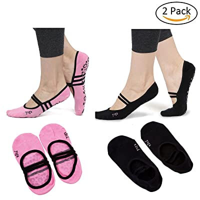 2 Packs Women Non Slip & Skid Yoga Socks Low Cut Socks with Grips for Yoga Dance Pilates Ballet Fitness One Size