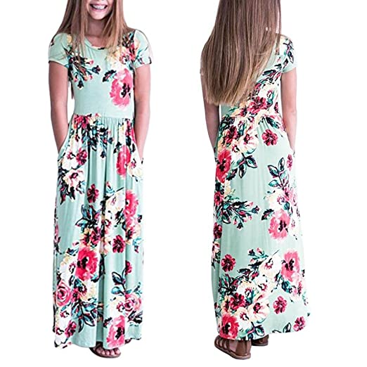 fb832635cb2e7 TiTCool Girl's Summer Short Sleeve Floral Printed Empire Waist Long Maxi  Dress with Pockets Size 2-10Y
