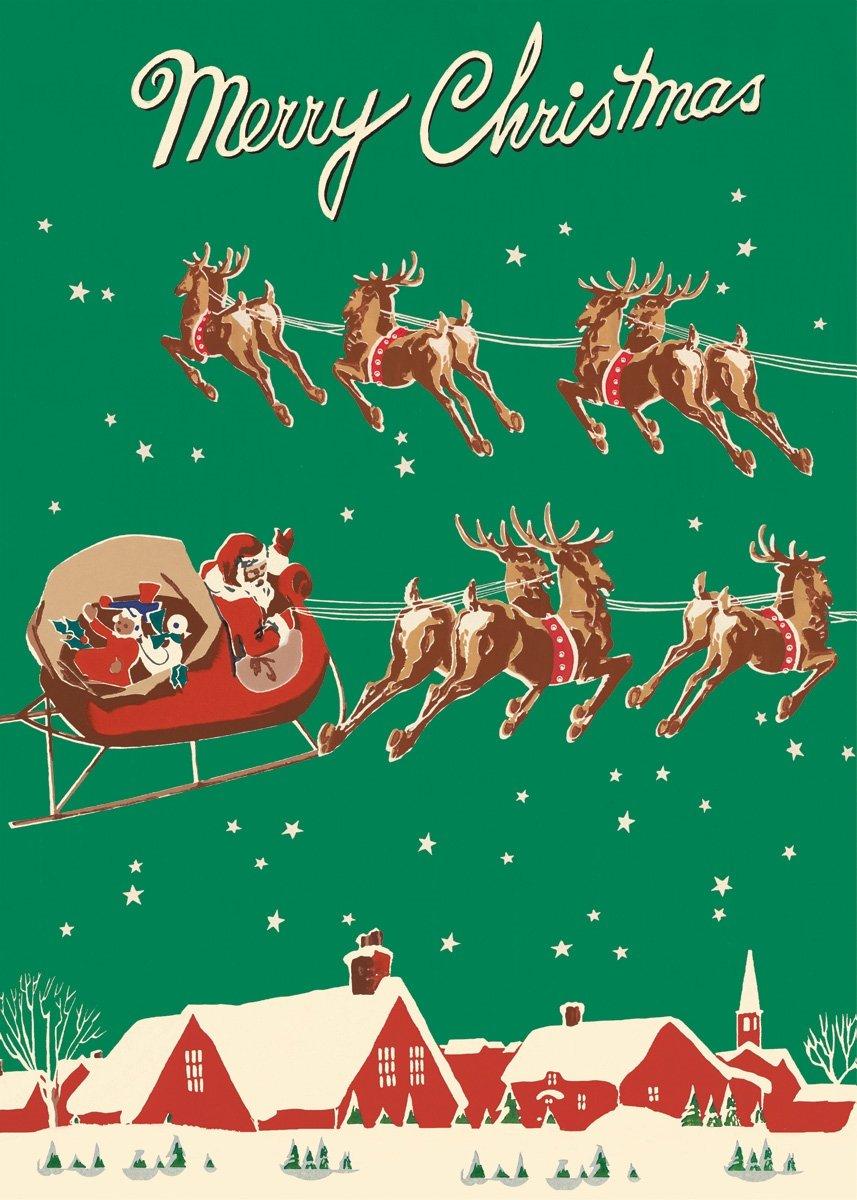 Cavallini & Co. Santa & Sleigh Decorative Paper Sheet