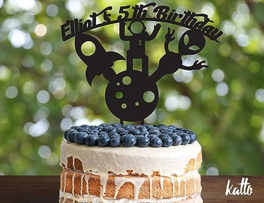 Robot Decoración para tarta de pasteles, fiesta espacial, cumpleaños, tema espacial, decoración de madera para tartas, decoración de tarta de madera, tarta dorada con purpurina, cumpleaños: Amazon.es: Hogar