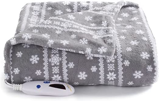 Amazon Com Biddeford Blankets Micro Plush Electric Heated Blanket With Digital Controller Throw Grey White Snow Leopard Home Kitchen