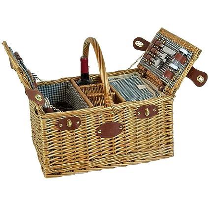 a503dc53d637e5 Les Jardins de la Comtesse Picnic Baskets 4 Persons Saint Germain Green  Gingham, One Size: Amazon.co.uk: Kitchen & Home