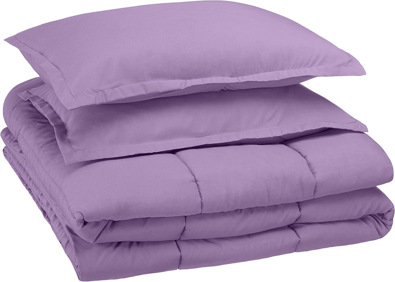 AmazonBasics Kid's Comforter Set - Soft, Easy-Wash Microfiber - Full/Queen, Violet