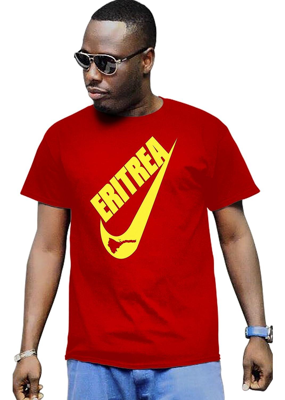 Cali Dreamers Men's I love Eritrea flag map Africa map t-shirt red
