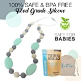 Teething Necklace For Moms To Wear and Baby To Chew, Chewbeads Chewlery Teether and Instant Pacifier for Teething Infants. Made From BPA Free Safe Silicon By JUNGO BAMBINO. (Blueberry and Mint)