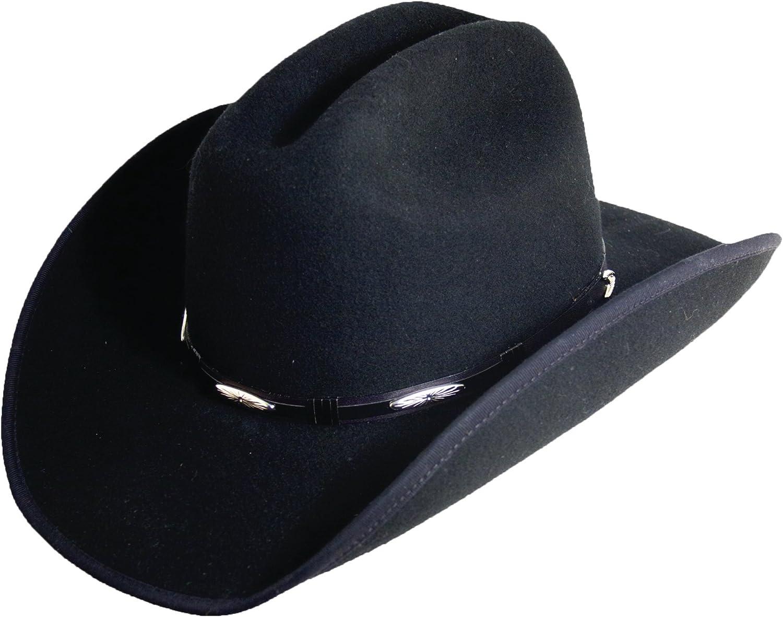 Large DFW11 Black WESTERN STYLE Cattleman Crown Wool Felt Concho 3-3//4 INCH Brim