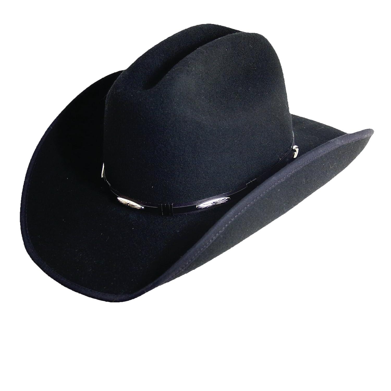 Scala Western Style Cattleman Crown Black Wool Felt Concho 3-3 4 Inch  Brim(DFW11) at Amazon Men s Clothing store  9de7905f964