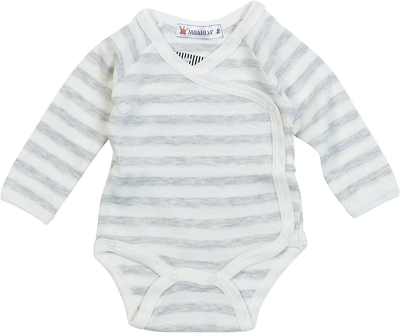 Creme-grau Milarda Baby Body Wickelbody 813366 gestreift