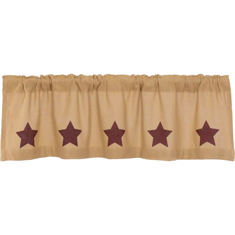VHC Brands Country Kitchen Curtains Natural Rod Pocket Stenciled Cotton Burlap Star 16x60 Valance Burgundy Tan