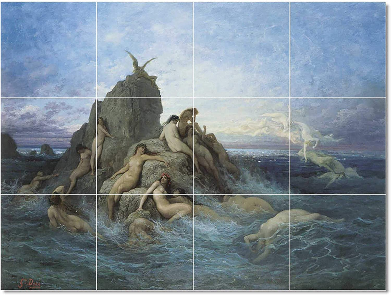 Ceramic Tile Mural Gustave Dore Mythology Painting 63 17 W X 12 75 H 12 4 25x4 25 Tiles