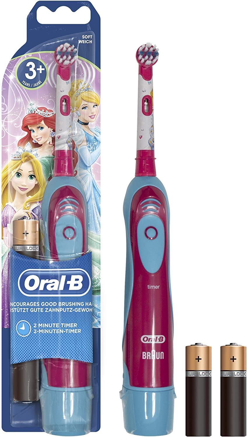 Oral-B DB4510K Princess Stages Power Electric Kids Toothbrush, Disney Design, with Battery