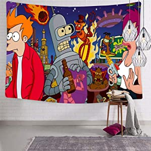 shenyizhu Futurama World Tapestry Wall Hanging Tapestries Wall Blanket for Living Room Bedroom Dorm Decor 51.2 x 59.1 Inch