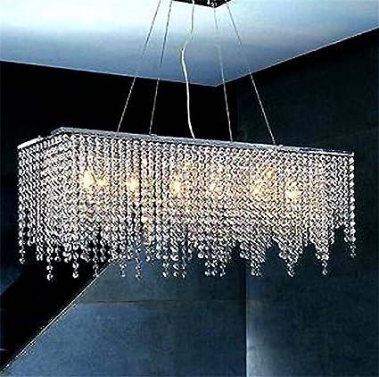 Lámpara de techo, moderna lámpara de cristal rectangular de ...