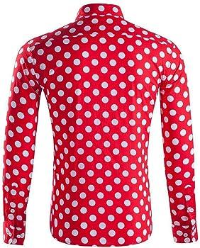 LHWY Camisa de Hombre Tops Shirt 2019 Verano Moda botón Holgado de Manga Larga con Cuello Redondo y Estampado Hawaiano Camiseta Corta Camiseta Gran tamaño Lunares Beach Hawaii Vino XS: Amazon.es: Ropa