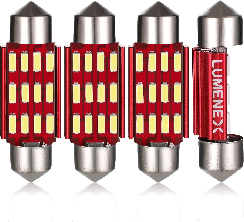 LUMENEX C5W 39mm LED Bombilla CANBUS 6411 6418 para Coche Interior Festoon Luz de Matrícula Luces del Maletero 12V 24V 6500K Blanco 4 Piezas