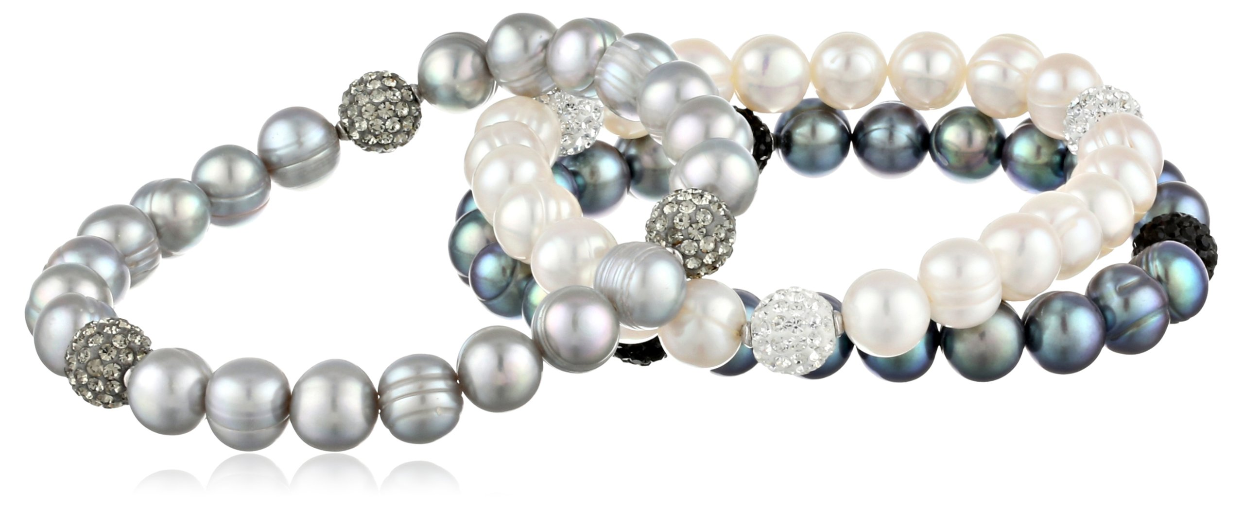 Honora ''Pop Star'' Black, White and Gray Freshwater Cultured Pearl and Crystal 7.5'' Stretch Bracelet