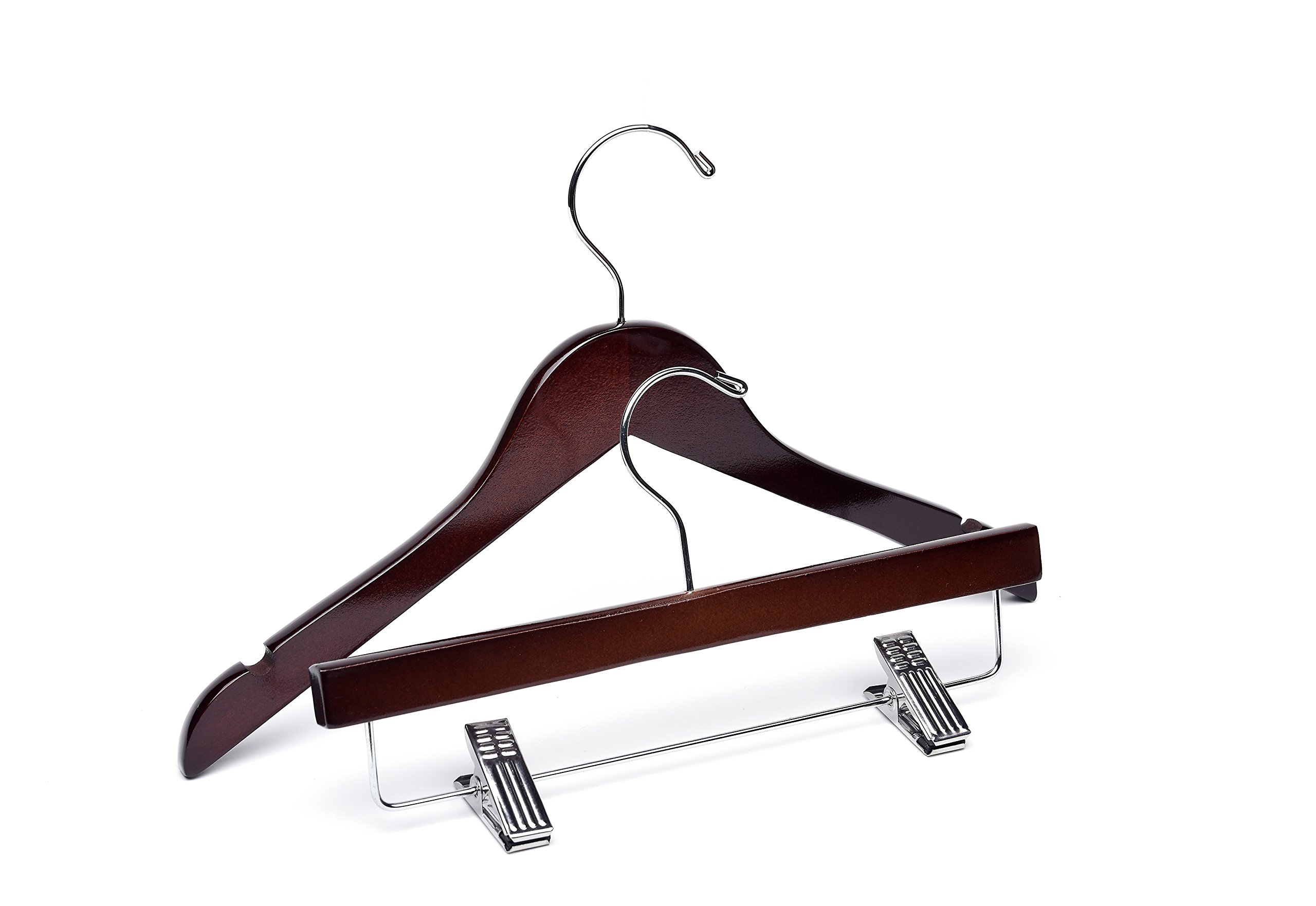 Baby Dark Walnut Wooden Hangers, Mix 60 Top 25 Bottom