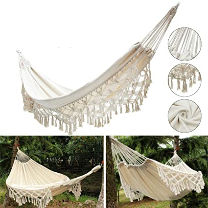 SLB Works 240x150CM Large Double Cotton Hammock Fringe Swing Beach Yard Hanging Chair Bed
