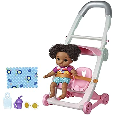 Baby Alive Littles, Push 'N Kick Stroller, Little Lola, Black Hair Doll, Legs Kick, 6 Accessories, Toy for Kids Ages 3 Years Old & Up: Toys & Games