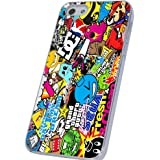 Sticker Bomb Colorfull Stil Designer iphone 5 5S Hülle Case Back Cover Metall und Kunststoff-Löschen Frame