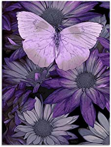 Purple Butterfly Painting Giclee Print on Canvas, Stretched and Framed, Modern Home Decoration Wall Art,12 by 16Inch,Ready to Hang