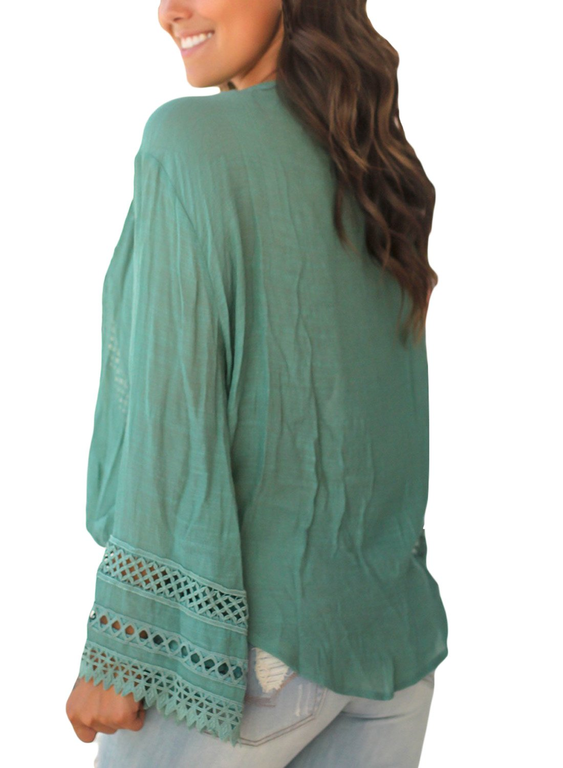 FARYSAYS Women's Casual Crochet V Neck Hollow Out Long Bell Sleeve T Shirt Tops Blouse Green X-Large by FARYSAYS (Image #2)