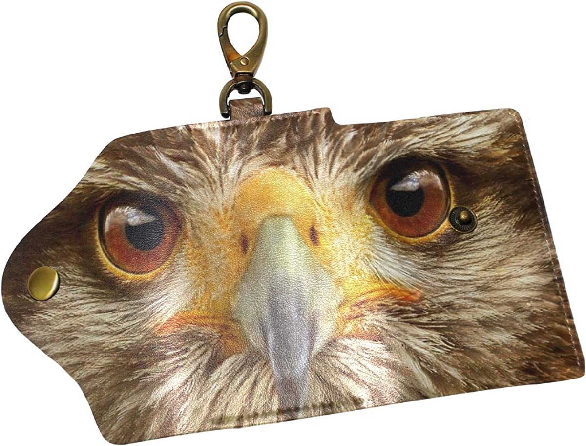 DEYYA Owl Bird Face Leather Key Case Wallets Unisex Keychain Key Holder with 6 Hooks Snap Closure
