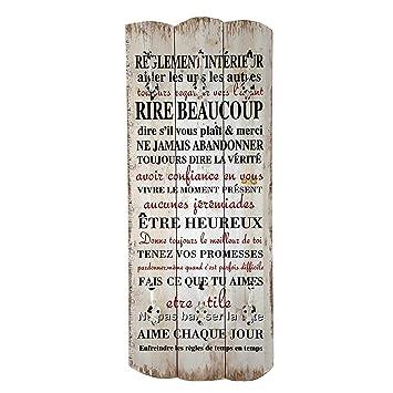UMOI 2019 - Perchero de Pared de Estilo Vintage de Madera Maciza con 6 Ganchos macizos, Estilo Shabby Chic, 100 x 40 cm