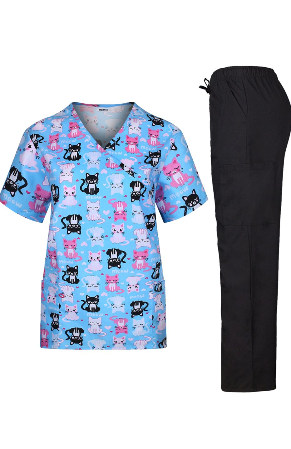 MedPro Women's Medical Scrub Set Cat Print Wrap Top and Cargo Pants  Blue Pink L