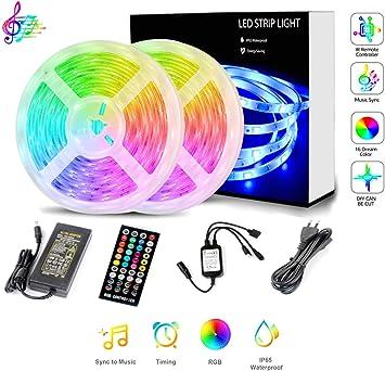 LIVEBB led Light Strip kit,32.8ft Waterproof,300 LEDs Smart Rope Lights RGB 5050 Color Changing Music Sync,APP Control led Strips,for TV Backlight,Kitchen Under Counter Under Bed,Bedroom,Music Party